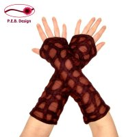 Silk Arm Warmers Wavy Grate Berry