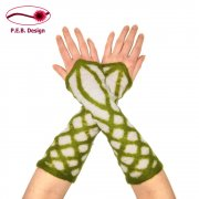 "Silk Arm Warmers ""Elf"" Natural White-Moss Green"