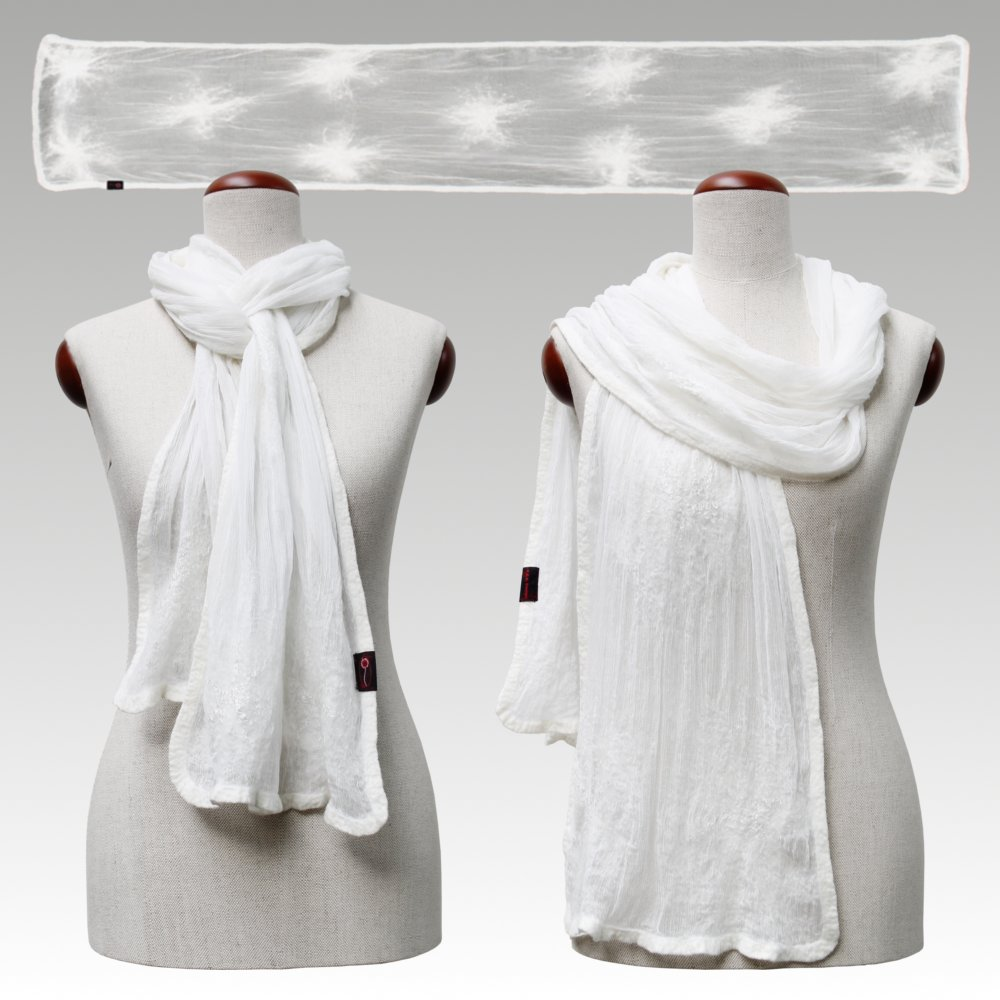 New at P.E.B. Design: Crinkle chiffon scarfs in black and white